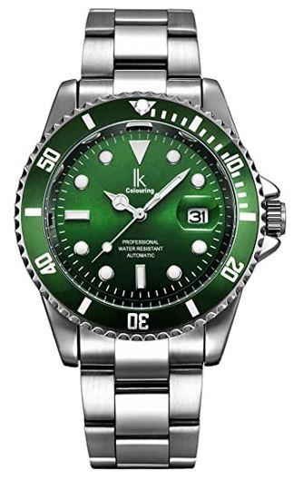 montre Alienwork IK Colouring masculine facon luxe avec cadran sur fond vert fonce