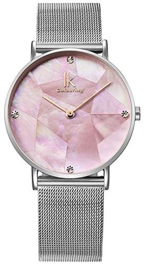 montre Alienwork avec cadran en nacre rose et bracelet en maille fine argente destinee aux femmes