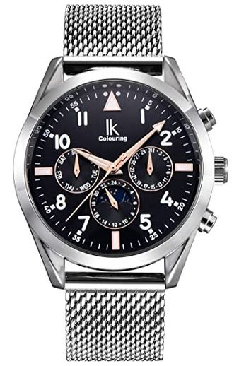montre Alienwork pour homme avec un bracelet en acier couleur argent et cadran sombre chronographe