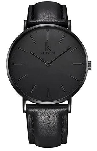 montre Alienwork pour homme avec un bracelet en cuir noir et un cadran noir minimaliste