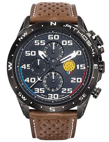 montre Athos4 chronographe noir inspiration aviateur pilote pour homme avec un bracelet de cuir marron perforre