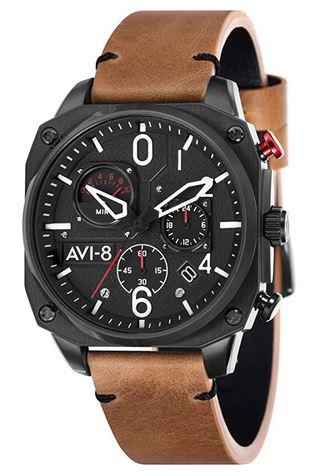 montre Avi 8 pour homme modele AV 4052 02 avec un bracelet en cuir marron clair lisse et un boitier cadran carre chronographe noir