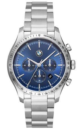 montre BMW masculine modele 8001 avec cadran chronographe bleu et bracelet en acier inoxydable a 3 mailles