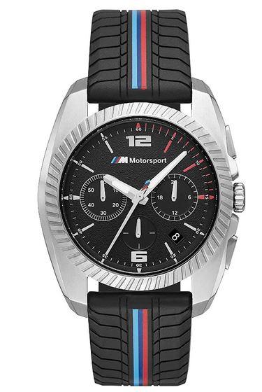 montre BMW motorsport pour homme avec bracelet effet pneu dautomobile en silicone et cadran chronographe noir