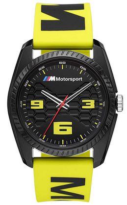 montre BMW1011 pour homme avec son bracelet de silicone jaune pourvue dinscription noire cadran noir avec des details jaunes