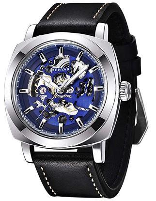 montre Benyar de style steampunk retro avec un bracelet en cuir noir brillant et un mecanisme apparent bleu violet
