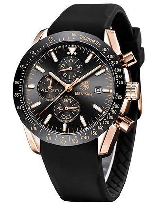 montre Benyar pour homme avec un cadran chronographe noir et son boitier rose gold