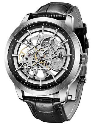 montre Berisgar pour homme avec mecanisme apparent et bracelet en cuir noir lisse
