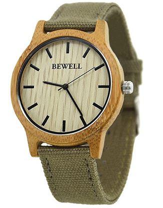 montre Bewell pour femme modele en bois avec un bracelet vert kaki