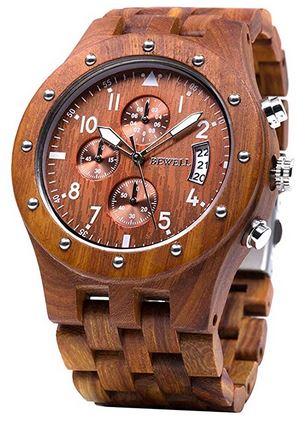 montre Bewell pour homme chronographe en bois naturel et en acier