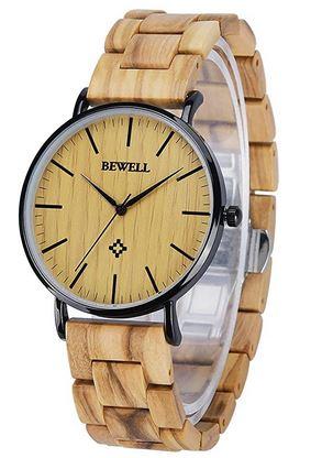montre Bewell unisexe modele en bois tres clair avec le boitier du cadran noir