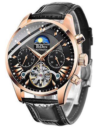 montre Biden pour homme effet grand luxe avec mecanisme automatique boitier rose gold et bracelet en cuir noir