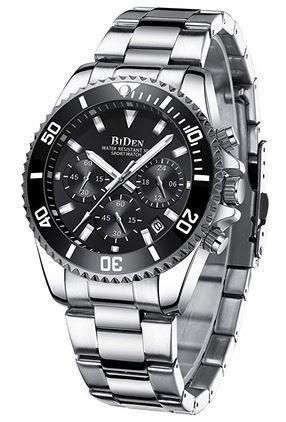 montre Biden pour homme en acier inoxydable avec cadran chronographe noir et un bracelet a 3 mailles couleur argent