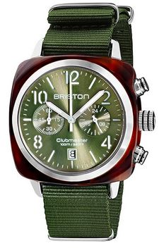 montre Briston destinee aux hommes entierement vert avec un bracelet vert olive et son cadran vert clair modele Clubmaster Classic Acetate