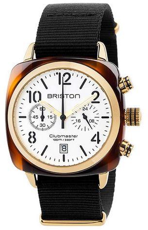 montre Briston masculine chronographe Clubmaster Classic Acetate au cadran dore et blanc accompagne dun bracelet en tissu noir