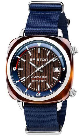 montre Briston pour homme modele Clubmaster Diver Yatching Acetate a mecanisme automatique bleu marine avec une partie du cadran marron effet bois