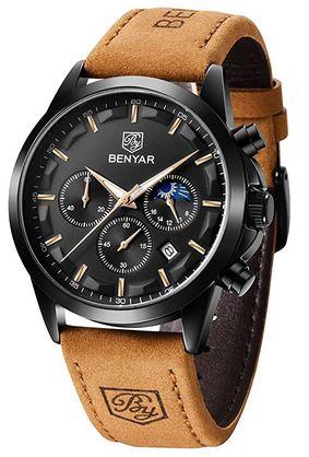 montre By Benyar pour homme noir et marron avec cadran chronographe noir