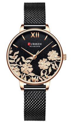 montre Curren blanche pour femme modele a quartz minimaliste entierement noir et rose gold avec des motifs a fleurs sur le cadran