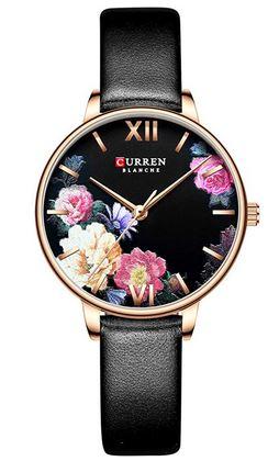 montre Curren pour femme avec bracelet en cuir noir lisse boitier en acier dore et motifs floraux de couleur sur le cadran