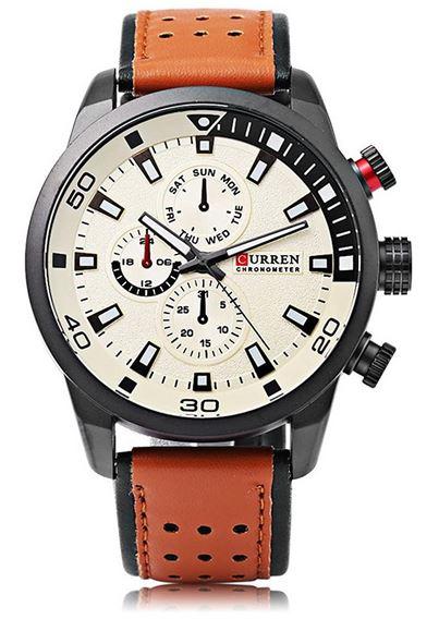 montre Curren pour homme avec bracelet en cuir marron perforre et cadran chronographe blanc casse