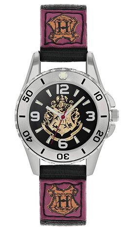 montre Harry Potter avec deux grands H sur le bracelet et le fond du cadran representant lembleme de lecole des sorciers Poudlard
