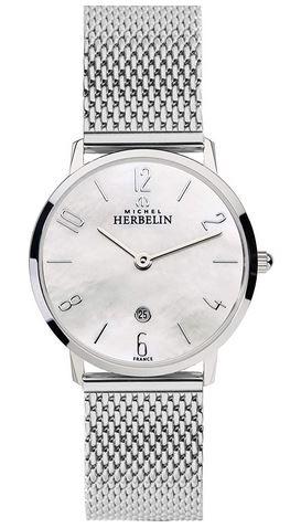 montre Michel Herbelin pour femme en acier inoxydable couleur argent et cadran blanc