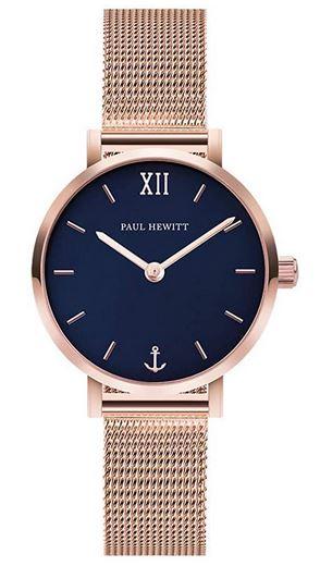montre Paul Hewitt pour femme Sailor Line avec bracelet en mailles fines dorees et cadran bleu marine