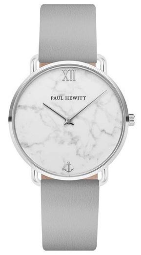 montre Paul Hewitt pour femme avec cadran effet mabre blanc nacre et bracelet argente en acier inoxydable modele Miss Ocean Marble