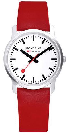 montre Suisse feminine de la marque Mondaine modele Simply Elegant avec un bracelet en cuir rouge et un cadran analogique blanc et noir