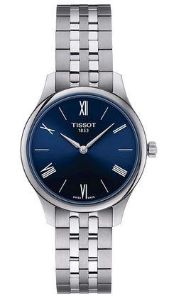 montre Suisse pour femme de la marque Tissot en acier inoxydable avec un cadran bleu nuit modele automatique