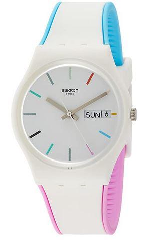 montre Swatch colore pour femme modele de la marque suisse en silicone blanche et rose