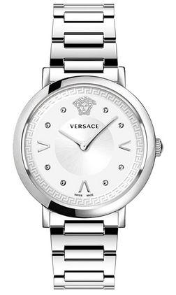 montre Versace Pop chic pour femme entierement en acier inoxydable couleur argent