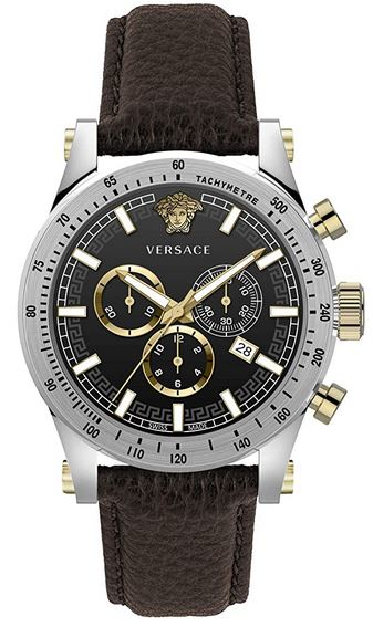montre Versace pour homme chronographe facon sport avec un bracelet marron fonce et un boitier en acier inoxydable couleur argent