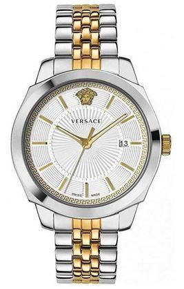 montre Versace pour homme modele Icon Classic couleur argent et or avec un cadran de 42mm
