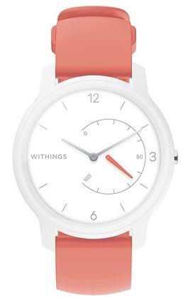 montre WIthings Move connectee hydride avec bracelet en silicone orange rose et cadran blanc