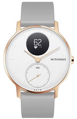 montre Withings Steel HR hybride blanche doree et grise avec suivi de frequence cardiaque GPS et autres fonctions