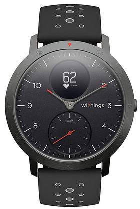montre Withings connectee Steel HR Sport noire avec bracelet en silicone perfore noir nombreuses fonctionnalites de mesure de la forme physique