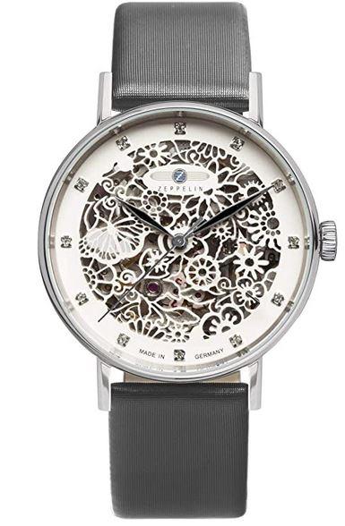 montre Zeppelin pour femme modele 7461 1 avec bracelet en cuir gris et cadran blanc decore de motifs en dentelles