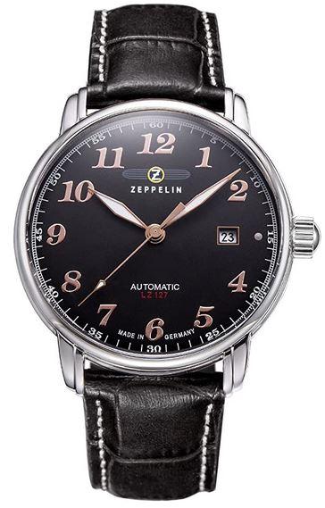 montre Zeppelin pour homme modele automatic LZ 127 avec un bracelet en cuir noir et un cadran egalement noir aiguilles et chiffres en rose gold