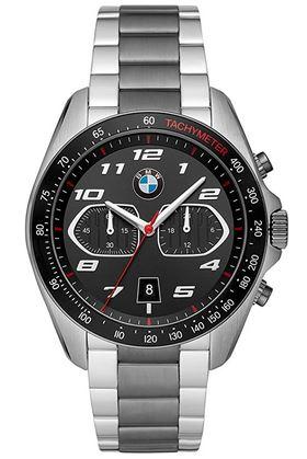 montre a quartz pour homme de la marque dautomobile BMW en acier inoxydable de couleur noir et gris