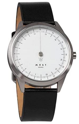 montre a une aiguille unique de la marque MAST Milano avec son cadran blanc et son bracelet en cuir noir modele pour homme