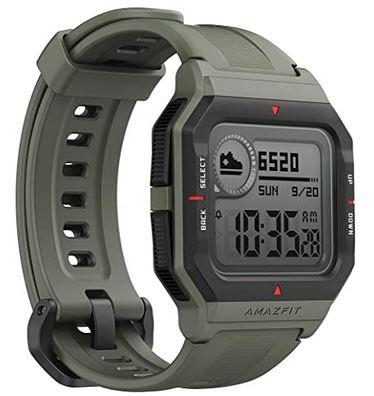 montre amazfit Neo pour femme et homme montre connectee auxmultiples fonctionnes avec un bracelet en silicone gris vert
