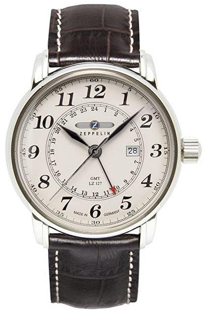 montre analogique a quartz pour homme de la marque Zeppelin modele GMT LZ 127 au cadran beige avec un bracelet en cuir marron