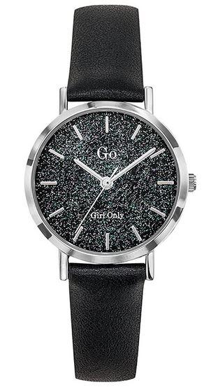 montre analogique de la marque Go Girl Only avec un bracelet en cuir lisse noir et un cadran paillete bleu gris et argent