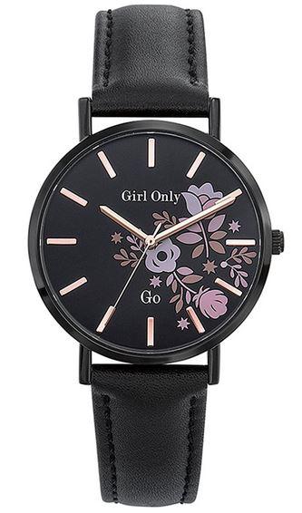 montre analogique de marque Go Girl Only modele minimaliste entierement noir avec des motifs a fleurs sur le cadran