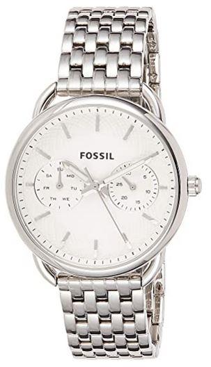 montre analogique feminine de la marque fossil avec bracelet en acier argente et cadran blanc chronographe