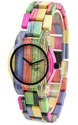 montre analogique multicolor en bois de la marque Bewell pour femme