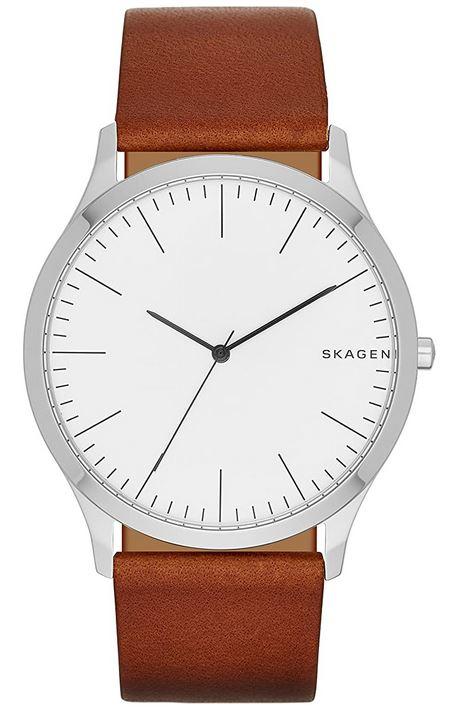 montre analogique pour homme de la marque Skagen modele SKW6331 avec bracelet en cuir marron lisse et cadran minimaliste blanc