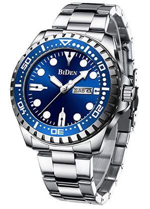 montre analogique pour homme de marque Biden avec un cadran bleu nuit et un bracelet en acier