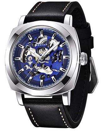 montre au cadran carre avec mecanisme apparent bleu et bracelet en cuir noir de la marque By Benyar pour homme